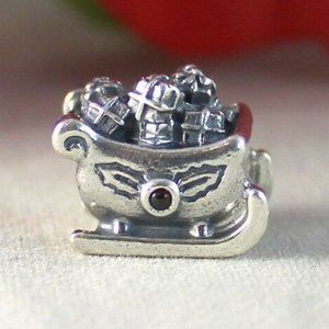 Sterling Silver PANDORA Winter Holiday Charm Sleigh Sled